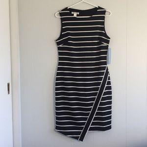 {London Times} striped scuba sheath dress